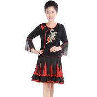 夏季广场舞服装套装 中老年舞蹈服春秋季女士跳舞衣长袖上衣裙子演出服