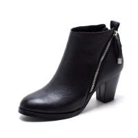 年秋季欧美时尚真皮粗跟短靴圆头金属侧拉链纯色女人靴子