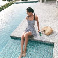 泳衣女钢托小胸聚拢连体裙式保守平角遮肚显瘦泡温泉性感游泳衣 黑色