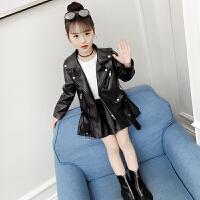儿童冬装外套女童皮衣秋冬韩版加绒皮夹克小女孩