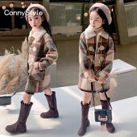 女童毛呢大衣童装女大童格子牛角扣夹棉冬装儿童外套