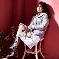 睡袍女冬加厚加长款纯棉三层夹棉女士冬季加棉保暖冬天可爱睡衣袄 YZJ0011-菠萝