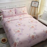 双面纯天丝四件套夏季60支冰丝床单被套1.8m床上用品 粉红色 花间意粉