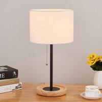 台灯卧室床头灯创意简约现代欧式台灯北欧原木温馨美日式遥控灯具