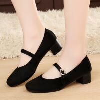厚底老北京布鞋女工作鞋女鞋黑色平跟坡跟舞蹈鞋高跟鞋单鞋酒店鞋