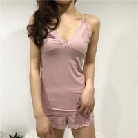 春夏韩版吊带背心短裤甜美女士家居服套装蕾丝花边性感睡衣两件套
