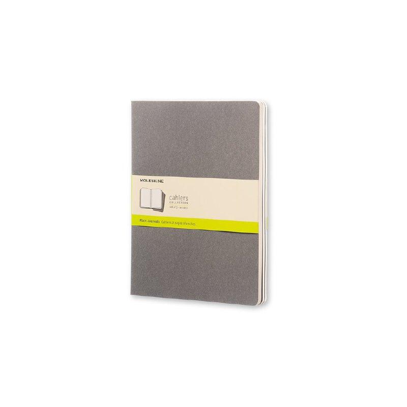 进口原版 Moleskine Cahier 3件套灰色纯白轻便笔记本(加大型) Moleskine Soft Grey Plain Cahier Extra Large Journal (3 Set)