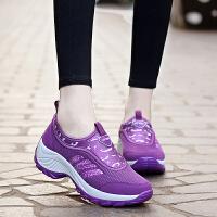夏季女士运动鞋内增高5cm 夏天透气坡跟厚底跳舞鞋广场舞松糕女鞋