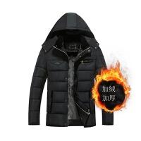 中老年男装棉衣中年男士加厚棉袄冬季父男爸爸装冬装外套 黑色17*加绒款 180/XL