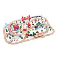 木质托马斯69片轨道车电动小火车套装 木制儿童拼装玩具 官方标配