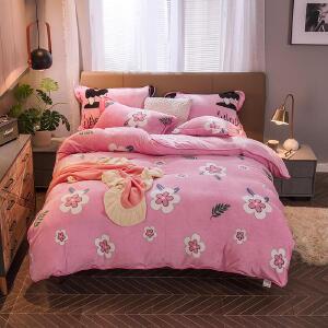 冬季奶牛绒珊瑚绒四件套双面床上法莱绒1.8m床单男女加厚法兰绒三件套被套
