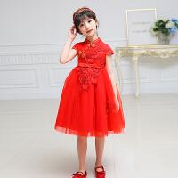 中国风旗袍礼服女童唐装新年装公主蓬蓬裙儿童晚礼服红色   可礼品卡支付