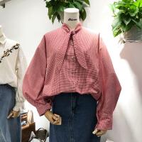 韩国ulzzang2018春装款lunhui时尚围巾领撞色格子衬衫女长袖上衣