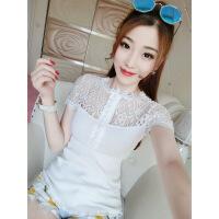 夏季新款甜美立领蕾丝镂空拼接螺纹棉短袖T恤修身显瘦打底衫上衣 均码