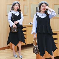 连衣裙两件套女明星同款冬季背带裙长袖条纹衬衣套装打底裙秋冬款