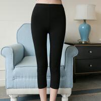 女士外穿打底裤薄款高腰显瘦大码纯棉七分裤7分小脚弹力短裤