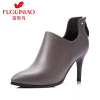 富贵鸟女鞋 高跟鞋女秋 新款及踝靴深口单鞋 女高跟鞋尖头女靴