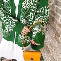 七格格外套女2019新款韩版宽松bf上衣秋季中长款针织开衫V领毛衣
