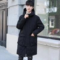 迷彩羽绒服男中长款过膝连帽男装加厚青年潮流冬季新款男士外套 黑色 M