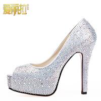 红色新娘结婚鞋女高跟水钻单鞋防水台细跟鱼嘴凉鞋婚纱礼服水晶鞋
