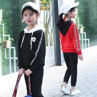 女童春装2018新款套装小女孩洋气运动两件套时尚韩版连帽潮长袖