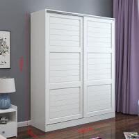 衣柜推拉门简约现代经济型卧室实木衣橱移门2门简易整体组装柜子 2门