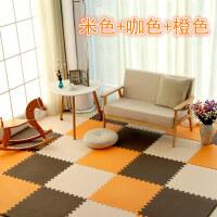 男孩爬行垫加厚拼接宝宝无味婴儿卧室大号满铺地板垫子加厚十字纹地垫 爬行垫子 橙色