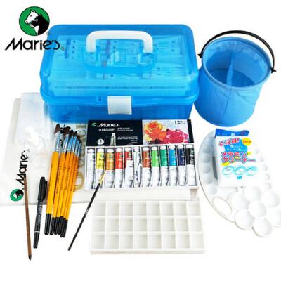 马利牌水粉颜料12件工具套装18色24色36色画笔水粉画水彩颜料工具箱初学者美术培训专用少儿学生用马力 初学者 中小学生 常用工绘画具套装