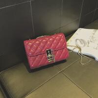 包包女2019新款菱格链条包百搭斜挎包时尚感洋气质感女包 红色 收藏*品