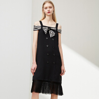 4.10~4.24预估到手价396丨红袖条纹系带网纱拼接吊带连衣裙