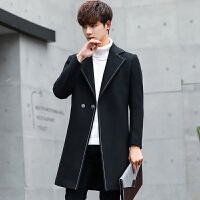 秋冬季男士外套风衣中长款韩版妮子男装羊毛呢大衣男加厚青年呢子