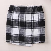 格子半身裙冬天毛呢短裙秋冬女新款不规则高腰包臀裙半裙韩版