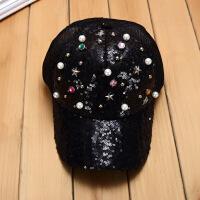 韩版遮阳新款夏季时尚个性女潮帽子珍珠镶钻亮片棒球帽儿童鸭舌帽 可调节