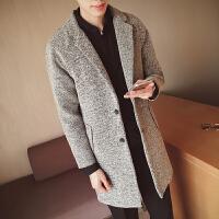 呢子大衣男中长款韩版修身男士风衣青年新款修身大衣冬季风衣外套 灰色 M