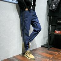 多口袋日系牛仔裤男青年深蓝显瘦长裤加肥加大码秋冬宽松男装裤子 深蓝色