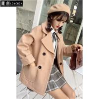 秋冬新款韩版学院风小个子双排扣呢子大衣简约百搭短款毛呢外套女 均码