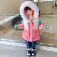 女童羽绒服2021新款儿童洋气撞色毛领外套宝宝90绒白鸭绒保暖冬装