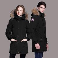 冬季新加拿大风格情侣中长款男厚鹅毛领户外时尚羽绒服女外套