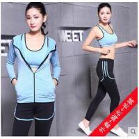 韩版运动套装女健身房瑜伽服两件跑步外套三件套显瘦瑜珈服 可礼品卡支付