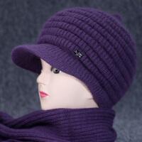 冬季老年人帽子女兔毛针织帽加绒保暖毛线帽中老年妈妈帽冬天线帽