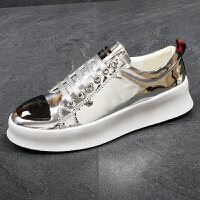 男板鞋韩版系带平底透气休闲鞋厚底增高鞋银色青年时尚潮流男鞋夏