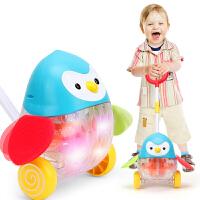 宝宝学步推车 手推玩具单杆推推乐婴儿学步儿童推车玩具1-3岁 蓝企鹅推推乐 萌宝