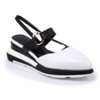 年新款坡跟尖头两穿凉鞋拖鞋防水台厚底日系套脚真皮女鞋