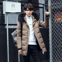男士外套冬季中长款连帽羽绒服男学生小清新韩版修身款 卡其色 M