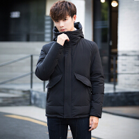 男士羽绒服修身韩版短款加厚新款冬季连帽时尚外套男青年潮流 黑色 M