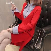 女装春装2018新款女中长款假两件衬衫领打底衫针织毛衣裙上衣潮 红色 S