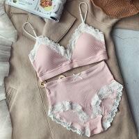 纯棉超薄无钢圈文胸套装 带插片不凸点中腰内裤 甜美舒适内衣少女