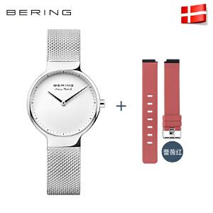 Bering白令手表女进口石英表防水简约时尚休闲女表潮流硅胶钢带