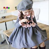 2018韩版童装女童春秋新款韩版女童娃娃领长袖公主连衣裙 公主裙