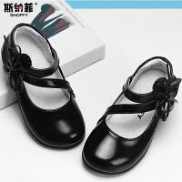 斯纳菲童鞋 女童皮鞋 真皮 春秋黑色皮鞋中大童公主鞋儿童单鞋